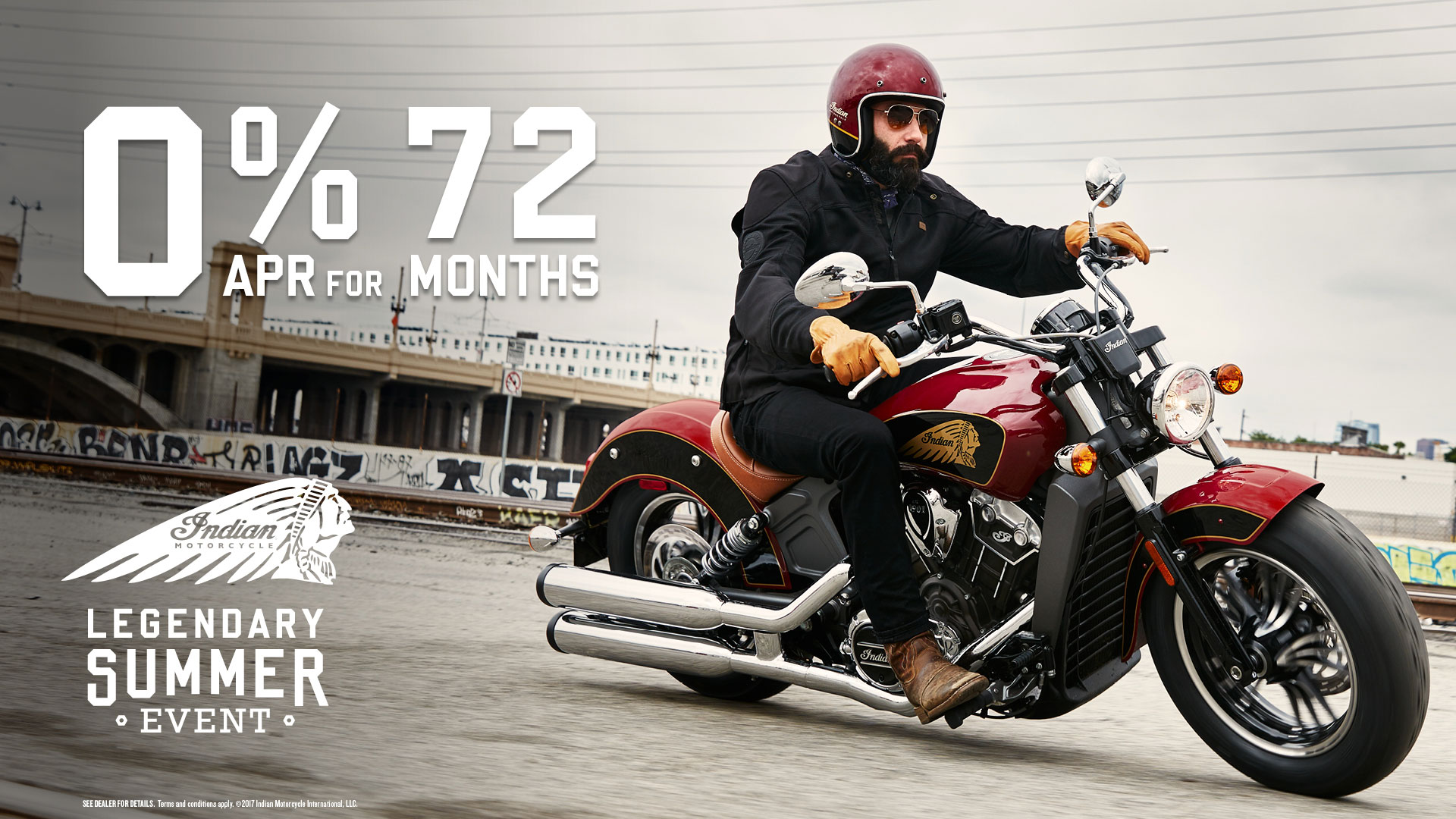 0% financing for 72 months. Bonus on the purchase of any new 2017 Midsize Indian Motorcycle through October 31, 2017